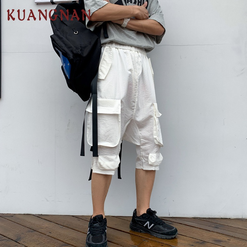 KUANGNAN White Calf-Length Cargo Pants Men Trousers Streetwear Joggers Pants Men Fashions Sweatpants XXL Trousers Men Pants 2019(China)