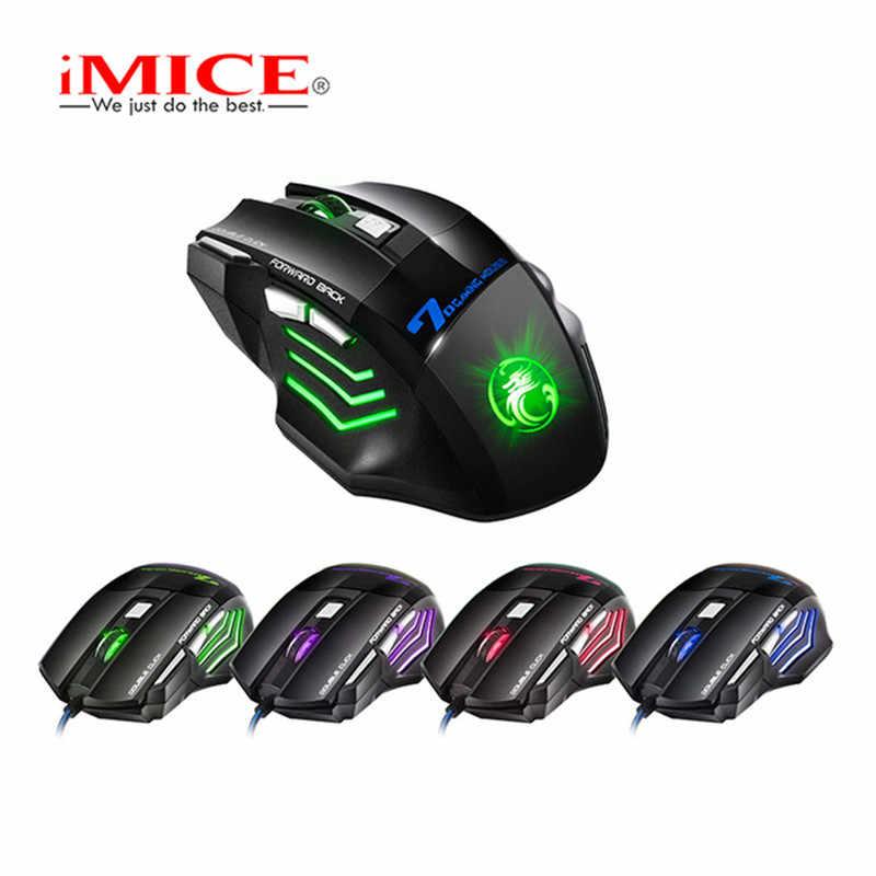 IMICE السلكية الألعاب ماوس 7 زر الصمام الضوئي USB الكمبيوتر ماوس ألعاب الفئران X7 لعبة الفأر الصامتة Mause الماوس كبير سادة ل PC