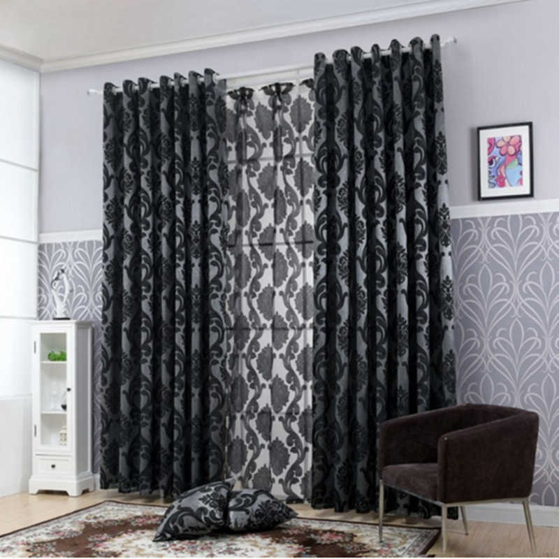LOZUJOJU Geometry curtains for living room curtain fabrics window curtain panel semi-blackout bedroom curtains black thick tulle