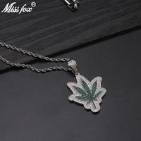 Missfox Mens Green Leaf Hip Hop Pendant Chain Necklace Golden Copper Metal Golden Necklaces For Hip Hop Style Fashion Jewelry