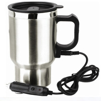 Stainless Steel Car Electric Cup Kettle Car Heaters Vehicle Electric Cup 450ml 12V Insulation Coffee Water