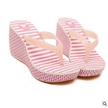 Flip Flops Female Slip resistant Sandals 2017 Print Wedge Platform Slippers Ultra High Heels Beach Shoes
