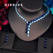 HIBRIDE Luxus Klar Und Blau Wasser Tropfen Schmuck Sets Für Frauen Halskette Set Hochzeit Kleid Zubehör Großhandel Preis N 388