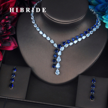 HIBRIDE 高級クリアとブルー水滴ジュエリーセット女性ネックレスセットウェディングドレスのアクセサリー卸売価格 N 388