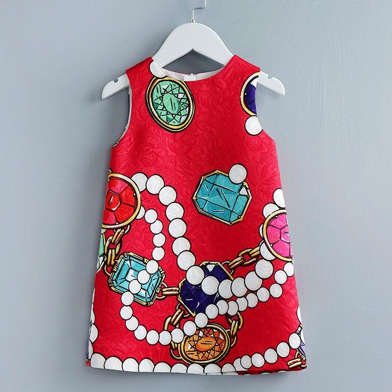 цена Summer Italy style children clothing kids girls red print party dress sister look girl 100-160cm fashion formal jacquard dresses онлайн в 2017 году