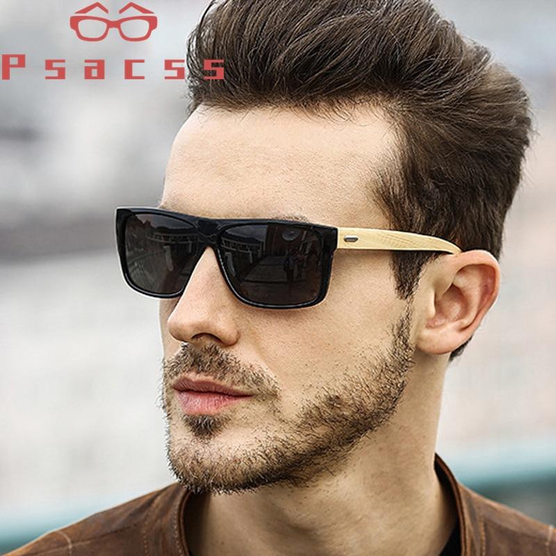 Psacss Wood Square Sunglasses Men Brand Designer Handsome Driving Party Mirror Sun Glasses Retro Lunette De Soleil Homme