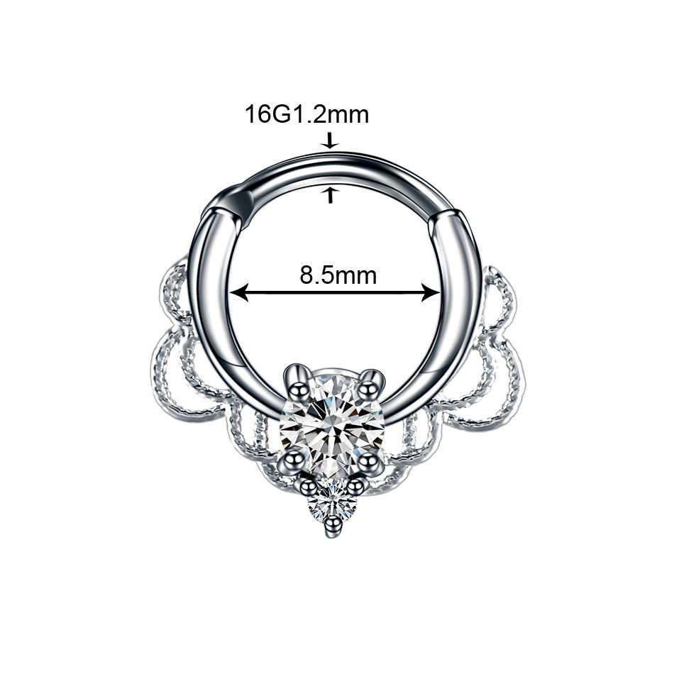 1 ชิ้นทองแดงจมูก Septum Clicker แหวนไทเทเนียมเพลาคริสตัล Nariz เจาะจมูกอินเดียหู Helix ต่างหู Septum Labret เจาะ
