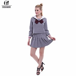 2016-Sailor-Uniforms-Cosplay-Suit-Japanese-School-Girl-Costumes-Grey-Daily-Pleated-Maxi-Skirts