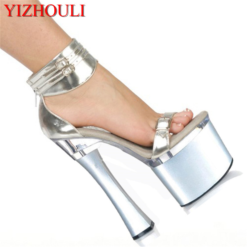 Elegant Ankle Strap With Fashion Comfortable Thick Heel Sandals 18cm High-Heeled Shoes 7 Inch Platforms Shoes Wedding Sandals ankle strap block heeled pu sandals