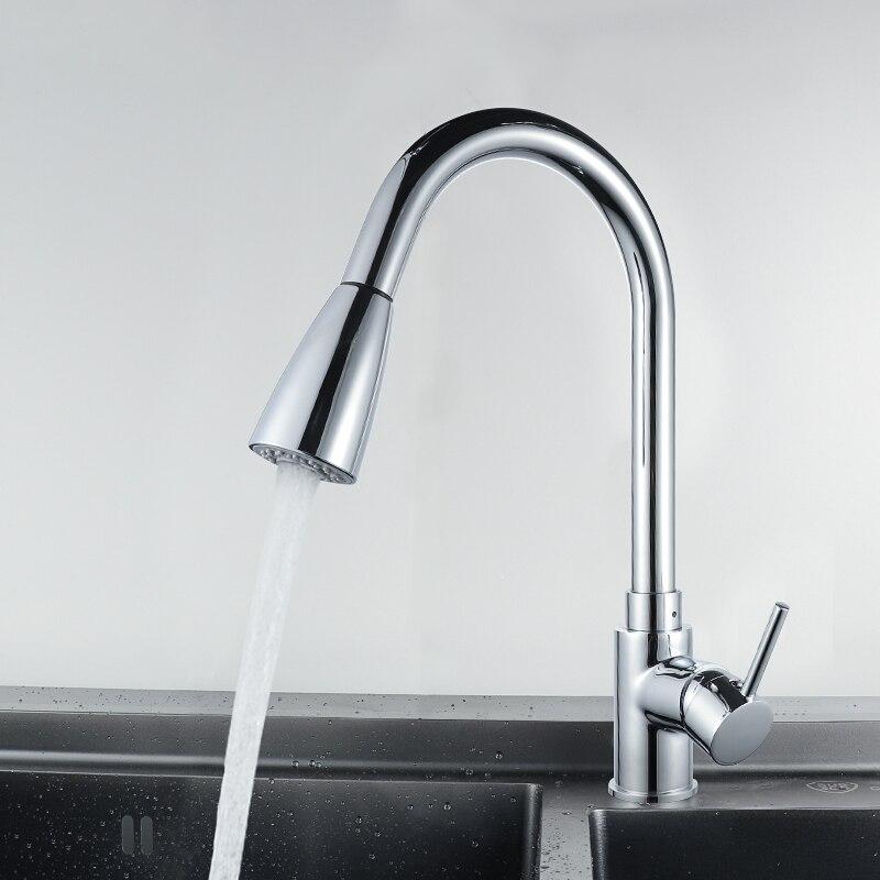 Black Pull Up Down Kitchen Faucet Deck Mount Vessel Sink Kitchen Mixer Tap