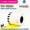 8 рулонов для заправки совместимых DK-22606 этикеток Желтая пленка с покрытием 62 мм * 15 24 м Непрерывная Совместимость для принтера Brother Label DK-2606