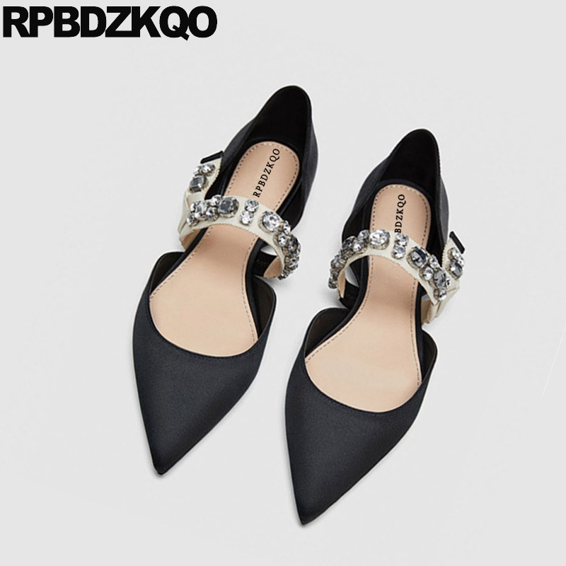 0703175e723a71 Detail Feedback Questions about Flats Summer Women Dress Shoes Wedding  Sandals Satin Designer Black Rhinestone Silk Mary Jane Italian 2018 Pointed  Toe ...