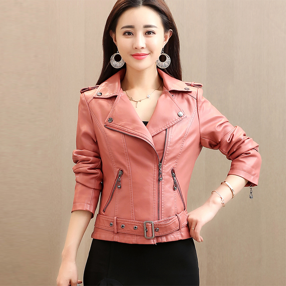 3XL 4XL High Quality   Leather   Jacket Women Turn Down Collar Ladies   Leather   Jackets With A Zipper Long Sleeve PU Biker Jacket Red