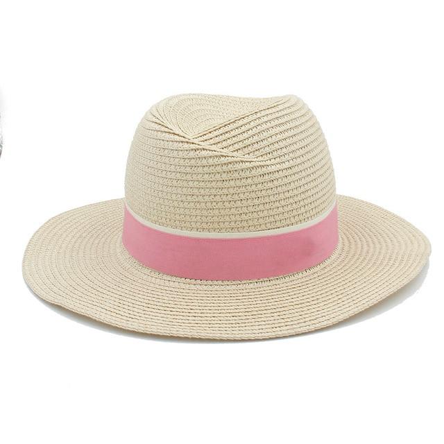Moda Donna Uomo Toquilla Fedora della Paglia Del Cappello Per Signora  Elegante estate Tesa Larga Panama 224022fd7ed7