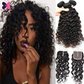 Grade 8A Water Wave Malaysian Virgin Hair With Closure Malaysian Curly Weave Human Hair 3Pcs Unice Hair With Cheap Lace Closures
