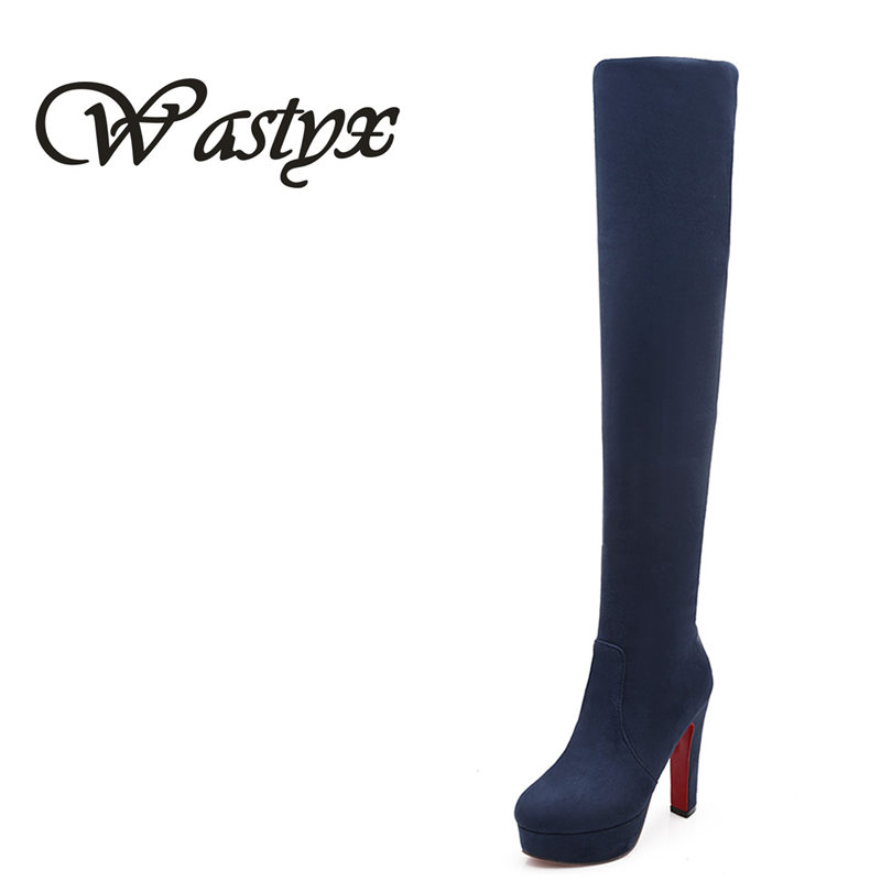 2016 New Women boots Suede Sexy Fashion Over the Knee Boots Sexy Thin High Heel Boots Platform Woman Shoes Black Blue size 34-46 big size 34 45 women boots over the knee shoes black white slim thin high boots sexy ladies fashion shoes 86278