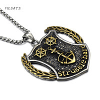 MCSAYS Hip Hop Stainless Steel Jewelry Boat Anchor Rudder Pendant Box Chain Marine Corps Sign Necklace