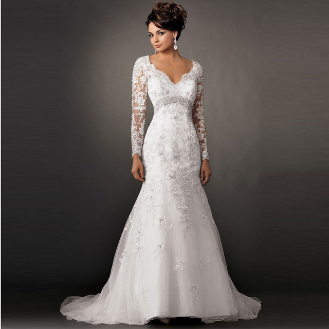 Y V Neck Trumpet Mermaid Wedding Dress 2017 Long Sleeve White Lace