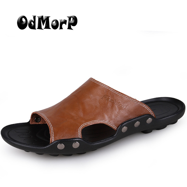 competitive price cb75e 40352 ODMORP Sommer Schuhe Herrenschuhe Größe 46 Strand Sandale Mode Männer  Sandalen Leder Freizeitschuhe Flip Flop Sapatos masculino