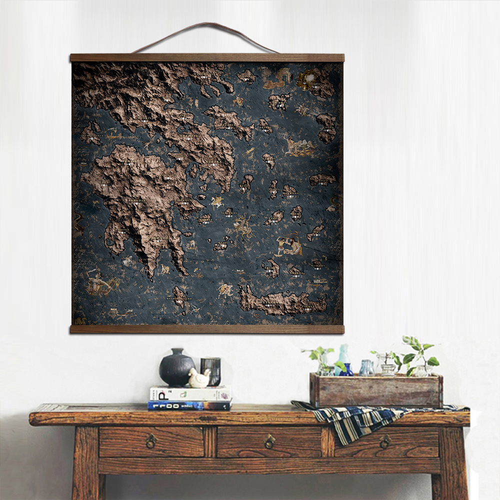 ZHUGEGE Assassins Creed Odyssey map poster for HD canvas posters decoration painting wall art with solid wood hanging scroll