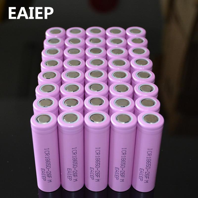 Аккумуляторные батарейки EAIEP, литий-ионные аккумуляторы 18650 для ICR18650-26F ICR18650 26F, 3,7 В 2600 мАч, 40 шт. в наборе