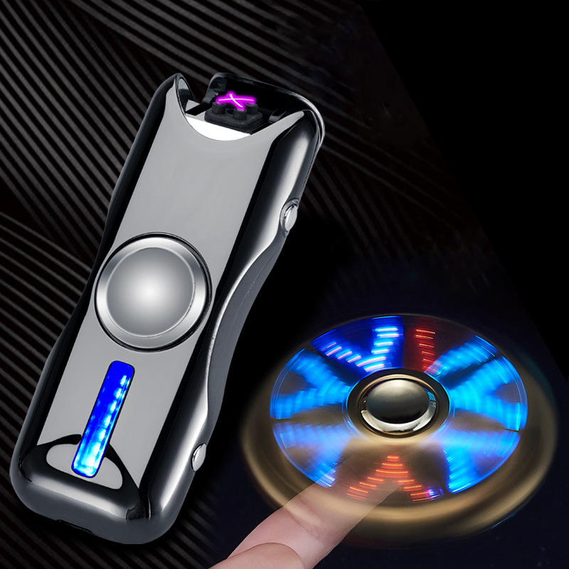 2018 New Dual Arc Hand Spinner Lighter Gyro Toy Fingertip Lighter USB Charging Windproof Lighter Rechargeable Electronic Plasma