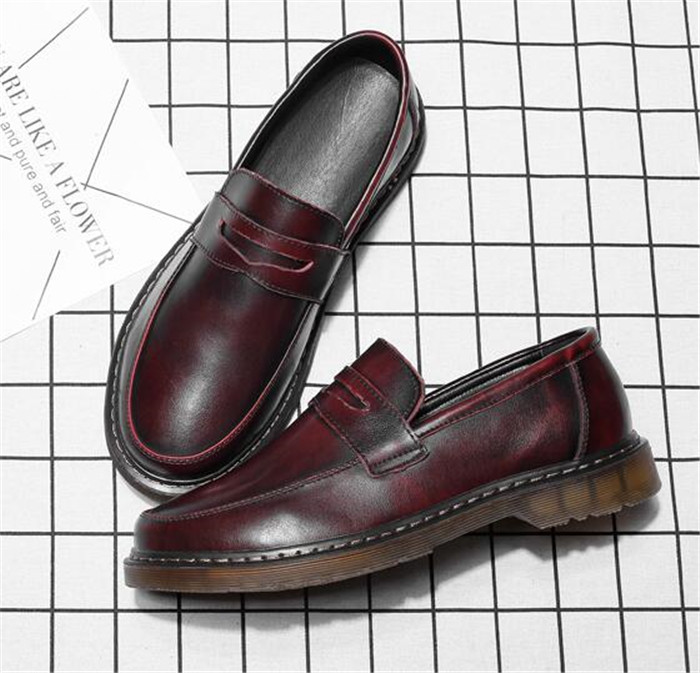 Casual shoes men s shoes fashion slip-on lazy shoes tendon bottom leather  thick bottom round 3bff2e6f1e87