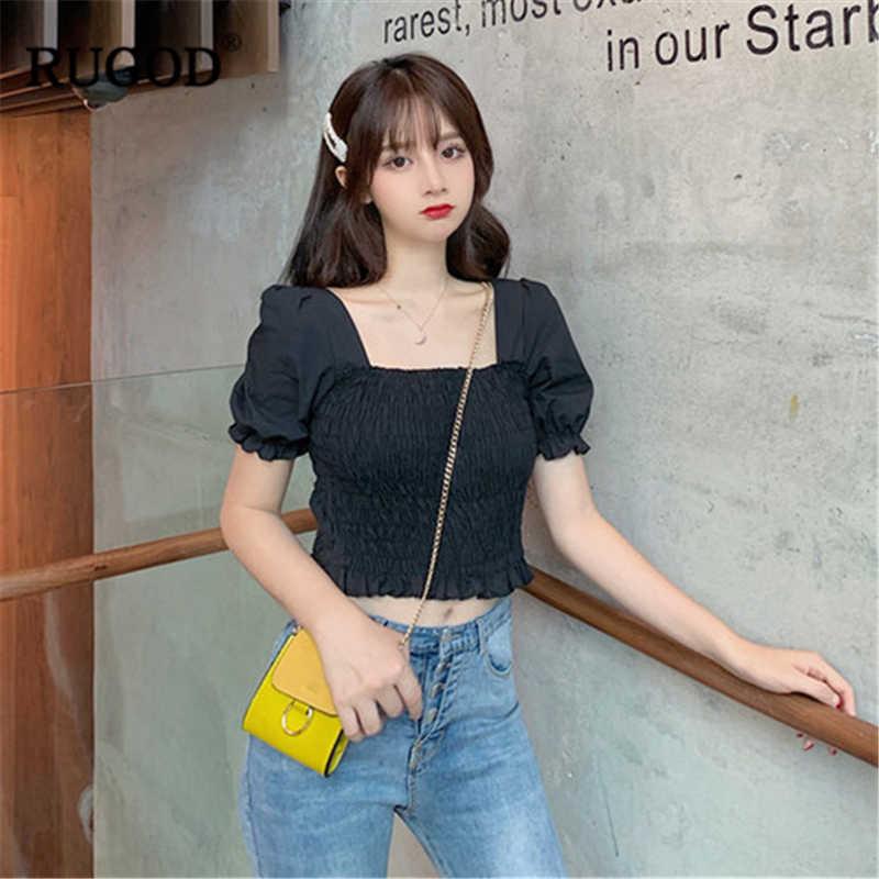 RUGOD 2019 ฤดูร้อนใหม่ผู้หญิงจีบเสื้อสแควร์คอสั้นแขนยืดหยุ่นสั้นเสื้อเกาหลีสไตล์ Slim Crop Top
