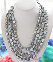 FREE SHIPPING>@@> Hot sale new Style >>>>>Long 100 14mm gray coin freshwater pearl cultured necklace