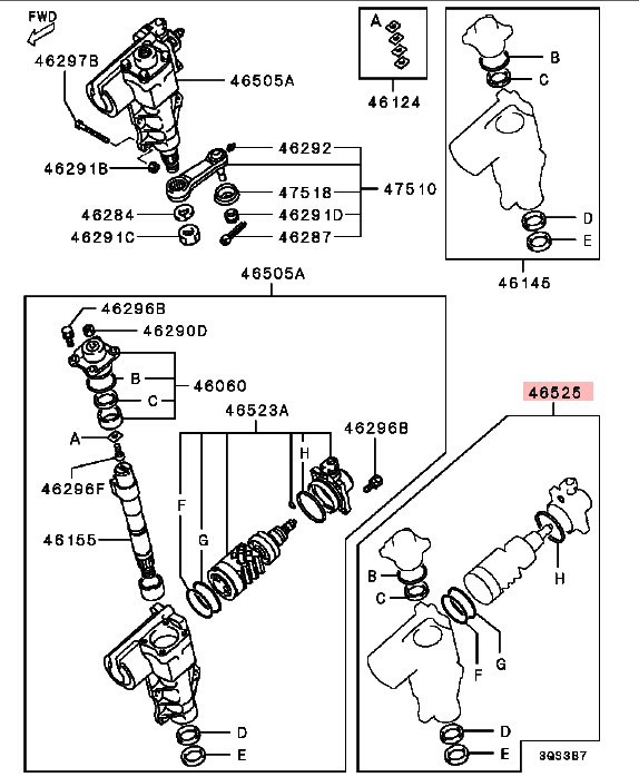 Комплект для ремонта рулевой рейки для Mitsubishi Pajero Montero Shogun II 2 Sport Nativa Challenger Triton L200 90-07 MR151061