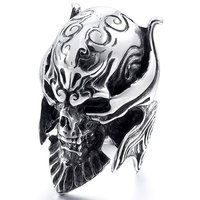 2016 New 1PC Viking Skeleton Skull Ring Stainless Steel Biker Ring Men Finger Size 8 13