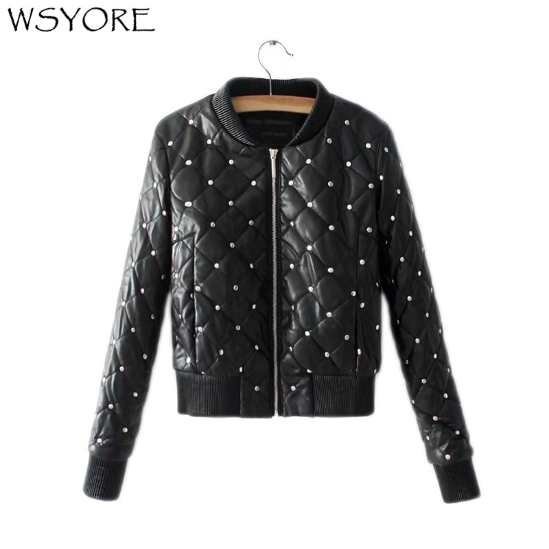 WSYORE Simple Black Slim Prismatic Rivets Locomotive Short Faux   Leather   PU Jacket Women 2018 New Autumn and Winter Coats NS444