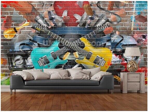Custom 3D art wallpaper, Guitar - Graffiti murals for the apartment hotel residential background wall vinyl papel de parede custom wallpaper ceiling murals palm blue sky for the living room ceiling apartment hotel background wall vinyl papel de parede