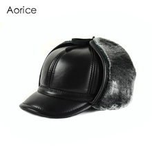 HL166-F Genuine leather baseball cap hat  men's winter brand new cow skin leather sport  hats caps black with Faux fur inside цена