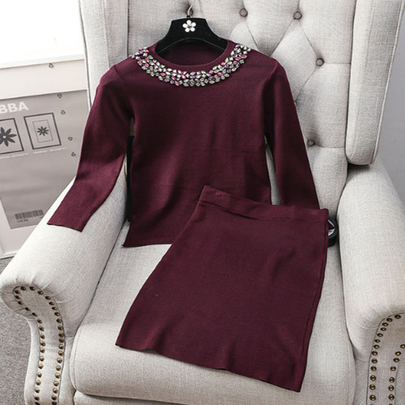 Amolapha Women Diamonds Knitted Skirts 2PCS Clothing Suit Woman Pullover Sweaster Clothes Set Vestidos