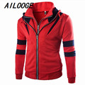 2016 New fashion HOT Autumn Spring new men Korean brocade hit color mosaic hooded slim Jacket Blazer