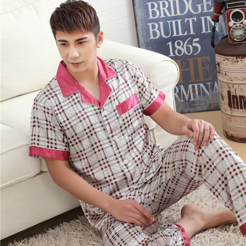Spring Summer Autumn Men Satin Silk Pajamas Sets Of Sleepshirt & Trousers Adult Nightwear Man Casual Home Clothing Plus Size 3XL