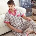Spring Summer Autumn Men Satin Silk Pajamas Sets of Sleepshirt & Trousers Adult Nightwear Man Casual Home Clothing Plus Size 3XL
