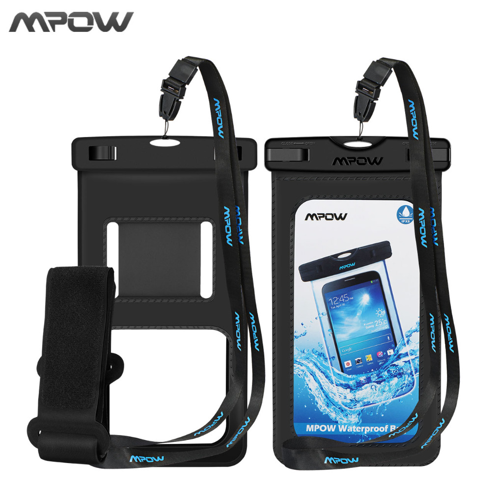2Pcs/lot Mpow Snowproof Phone bag+Arm band 2 in 1 IPX8 PVC+ABS Waterproof Bag Case For 4-6'' phone For iPhone X 8 7 6 6s /Plus