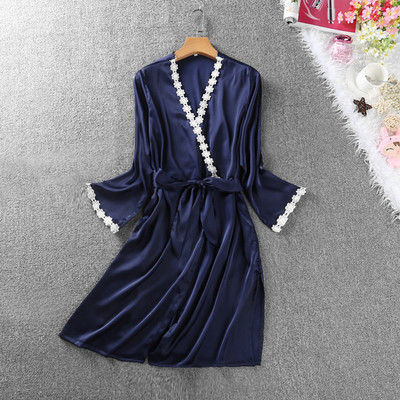 Women Silk Sleepwear Robe Sexy Night Robes Long Sleeve Lace Dressing Gown Bride Bridesmaid Kimono Robe Bathrobe Female Nightwear