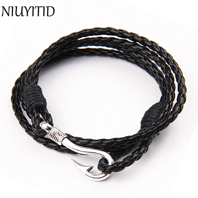 NIUYITID 41cm PU Leather Bracelet For Men Women Fashion Wristband Charm Braclet
