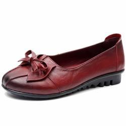 GKTINOO 2019 Shoes Woman Genuine Leather Women Shoes 3 Colors Loafers Women's Flat Shoes Fashion Women Flats 4