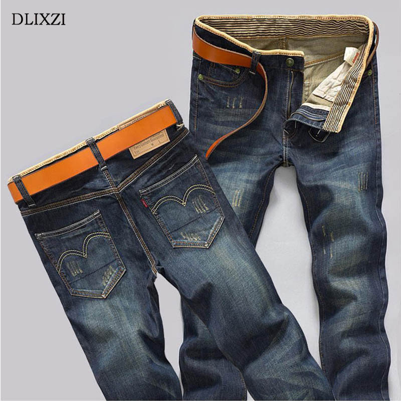 DLIXZI Mens Jeans Fashion Casual Straight Jeans Men Slim Fit Denim Pants Man High Quality Cotton Destroyed Jean Trousers Male