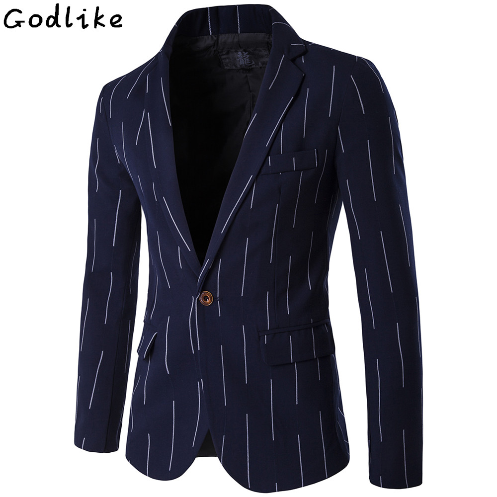 2017 Spring Blazer Male Casual Jacket Single Button Stripe Blazers Slim Fit Men's Classic Cotton Suit Jackets Coats Man 4XL 5XL