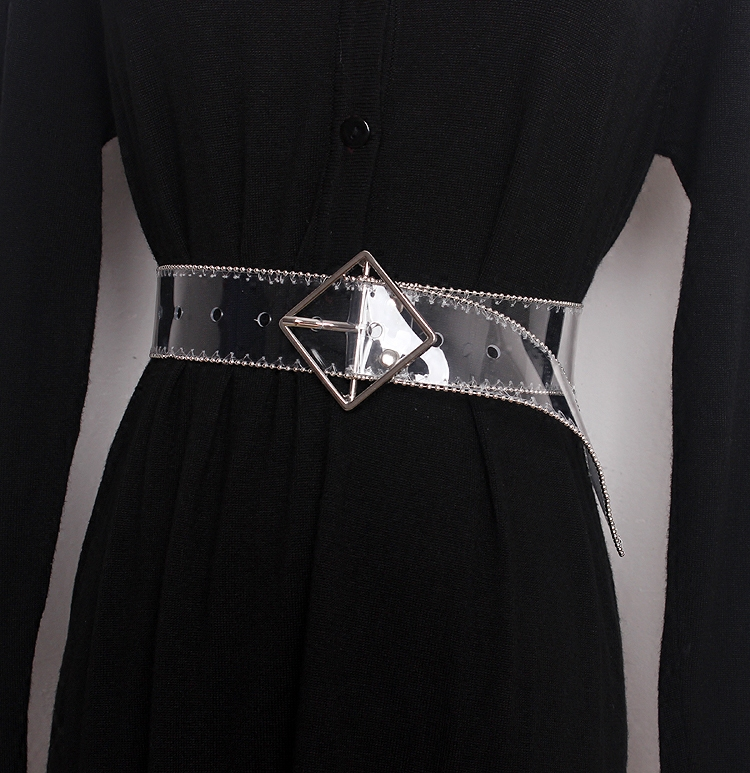 Y Demo Spring Summer Simple Geometric Buckle Diamond Round Transparent PVC Women Belt