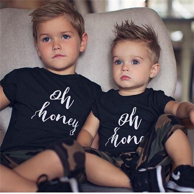 Emmababy תינוקת ילד קיץ כותנה שחור חולצה מכתב הו דבש חולצת T בגדי בני טי חולצות שרוול קצר בנות חמודות