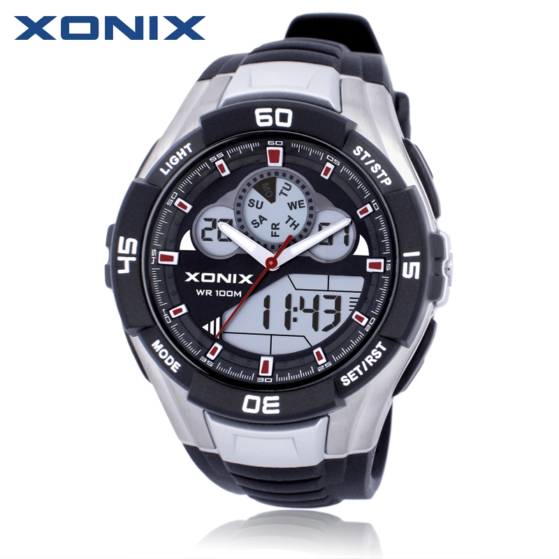 Hot XONIX Men Sports Watches Waterproof 100m Analog Digital Watch Running Swimming Diving Wristwatch Montre Homme