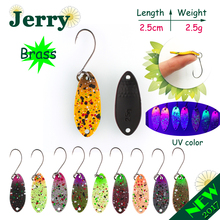 Jerry 1pc 2.5g fishing lures hard bait brass fishing spoons trout lures wobbler spinner bait matt UV colors(China)