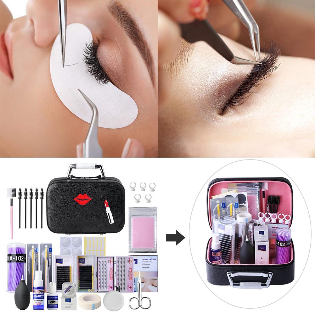 22PCS Beauty Salon Special Eyelash Extension Kit Eyebrow Comb Fake Eyelashes Tweezers Glue Gel Remover Eyelashes Extension Pract