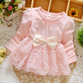 Full Sleeves Baby Girls Autumn Dresses Solid Cotton Lace Dress With Big Bow For Cute Girls Fashion Girls Clothes Summer Dress